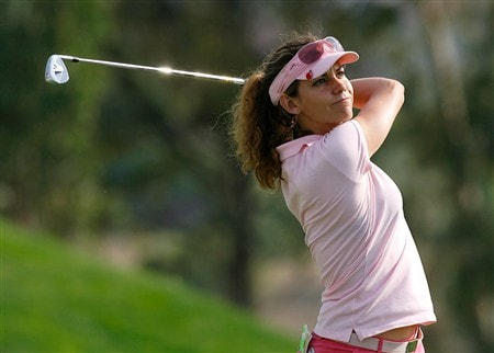MORELIA, MEXICO - APRIL 11:  Emma Cabrera-Bello of Spain tees off the sixth hole during the second round of the Corona Championship at Tres Marias Club de Golf April 11, 2008 in Morelia, Michoacan, Mexico.  (Photo by Kevin C. Cox/Getty Images)