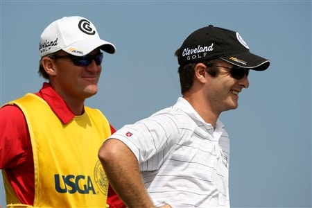 SAN DIEGO - JUNE 12:  Kevin Streelman waits with his caddie Mike Christensen on the third hole during the first round of the 108th U.S. Open at the Torrey Pines Golf Course (South Course) on June 12, 2008 in San Diego, California.  (Photo by Donald Miralle/Getty Images)