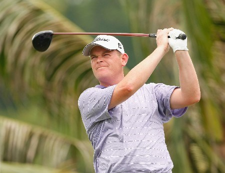 JAKARTA, INDONESIA - FEBRUARY 14:  David Drysdale of Scotland plays his tee shot on the 13th hole during the first round of the 2008 Enjoy Jakarta Astro Indonesian Open at the Cengkareng Golf Club on February 14, 2008 in Jakarta, Indonesia.  (Photo by Stuart Franklin/Getty Images)