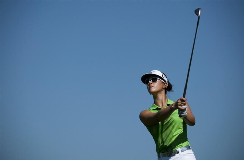ROGERS, AR - SEPTEMBER 11:  Michelle Wie makes a tee shot on the fourth hole during the second round of the P&G NW Arkansas Championship at the Pinnacle Country Club on September 11, 2010 in Rogers, Arkansas.  (Photo by Robert Laberge/Getty Images)