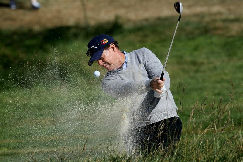PEBBLE BEACH, CA - JUNE 16:  Tom Watson hits a shot from a bunker during a practice round prior to the start of the 110th U.S. Open at Pebble Beach Golf Links on June 16, 2010 in Pebble Beach, California.  (Photo by Stephen Dunn/Getty Images)