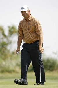 David Eger reacts after missing a putt on hole #4 during the second round of the U.S. Senior Open at Prairie Dunes Country Club in Hutchinson, Kansas on July 7, 2006.Photo by G. Newman Lowrance/WireImage.com