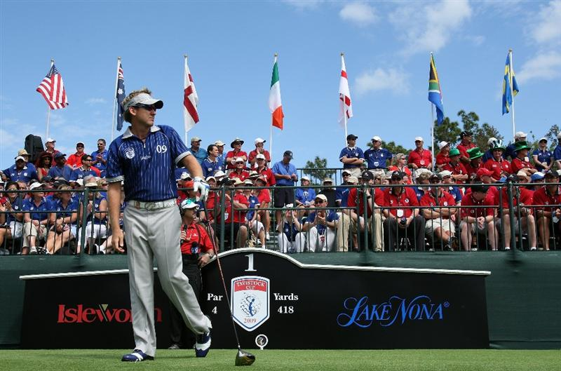 ORLANDO, FL - MARCH 17:  Ian Poluter of England and the Lake Nona Team on the tee at the first hole during the second day of the 2009 Tavistock Cup at the Lake Nona Golf and Country Club, on March 17, 2009 in Orlando, Florida  (Photo by David Cannon/Getty Images)