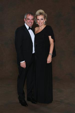 NEWPORT, WALES - SEPTEMBER 29:  European Ryder Cup team vice-captain Paul McGinley poses with his wife Alison prior to the 2010 Ryder Cup Dinner at the Celtic Manor Resort on September 29, 2010 in Newport, Wales.  (Photo by David Cannon/Getty Images)