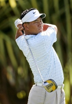 LAHAINA, HI - JANUARY 03:  K.J. Choi  tees off on the 1st hole during the first round of the Mercedes-Benz Championship at the Plantation Course at Kapalua Resort on January 3, 2008 in Lahaina, Maui, Hawaii.  (Photo by Jonathan Ferrey/Getty Images)
