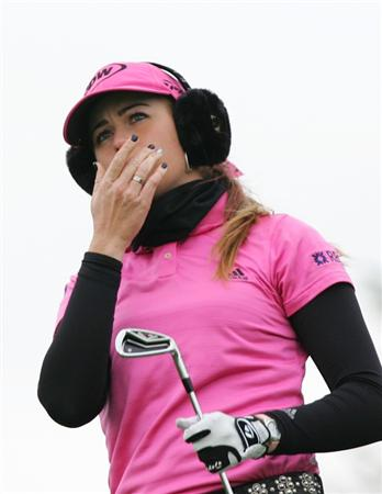 INCHEON, SOUTH KOREA - NOVEMBER 01:  Paula Creamer of United States reacts after teeshot on the the 3th hole during final round of Hana Bank Kolon Championship at Sky 72 Golf Club on November 1, 2009 in Incheon, South Korea.  (Photo by Chung Sung-Jun/Getty Images)