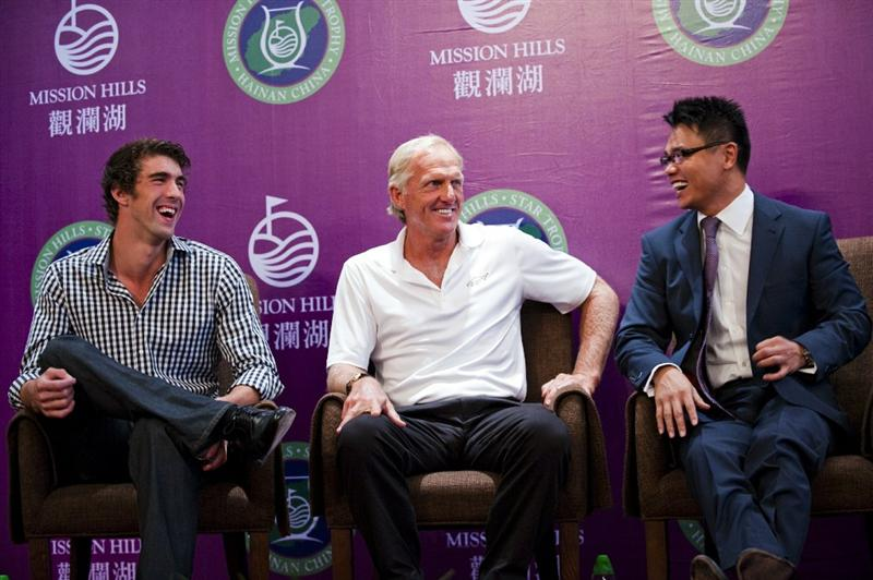 HAIKOU, CHINA - OCTOBER 27:  (L-R) Multiple Olympic gold medalist Michael Phelps of USA, golf legend Greg Norman of Australia, Dr. Ken Chu, Vice Chairman of Mission Hills Group laugh during the opening press conference of the Mission Hills Star Trophy on October 27, 2010 in Haikou, China. The Mission Hills Star Trophy is Asia's leading leisure liflestyle event and features Hollywood celebrities and international golf stars.  (Photo by Victor Fraile/Getty Images)