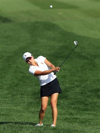 RANCHO MIRAGE, CA - APRIL 03:  Jennifer Song of the USA plays her third shot at the 15th hole during the third round of the 2010 Kraft Nabisco Championship, on the Dinah Shore Course at The Mission Hills Country Club, on April 3, 2010 in Rancho Mirage, California.  (Photo by David Cannon/Getty Images)
