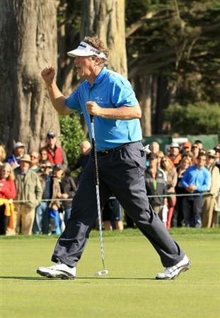SAN FRANCISCO - NOVEMBER 06:  Michael Allen reacts after he made a birdie putt on the 16th hole during round 3 of the Charles Schwab Cup Championship at Harding Park Golf Course on November 6, 2010 in San Francisco, California.  (Photo by Ezra Shaw/Getty Images)