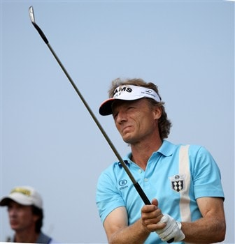 TROON, UNITED KINGDOM - JULY 26:  Bernhard Langer of Germany on the 1st tee during the third round of the Senior Open Championships at Royal Troon on July 26,2008 in Troon,Scotland.  (Photo by Ross Kinnaird/Getty Images)