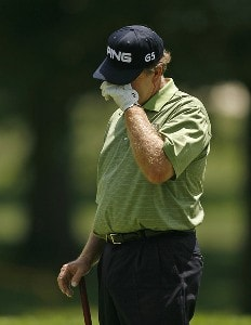 ENDICOTT, NY - JULY 13:  Bob Gilder reacts after missing a par putt during the first round of the Dick's Sporting Goods Open being held at En Joi Golf Club on July 13, 2007 in Endicott, New York.  (Photo by Mike Ehrmann/WireImage) *** Local Caption *** Bob Gilder Dick's Sporting Goods Open - First RoundPhoto by Mike Ehrmann/WireImage) *** Local Caption *** Bob Gilder