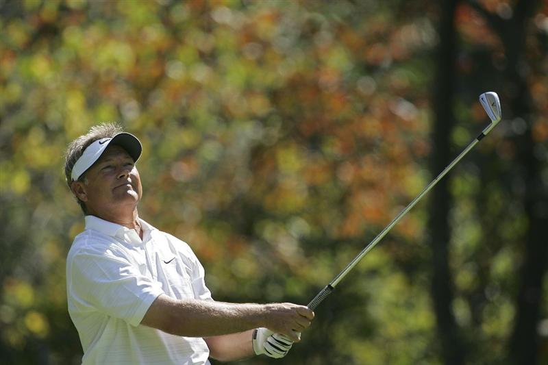 TIMONIUM, MD - OCTOBER 03:  John Cook watches his tee shot on the 15th hole during the third round of the Constellation Energy Senior Players Championship at Baltimore Country Club/Five Farms (East Course) held on October 3, 2009 in Timonium, Maryland  (Photo by Michael Cohen/Getty Images)