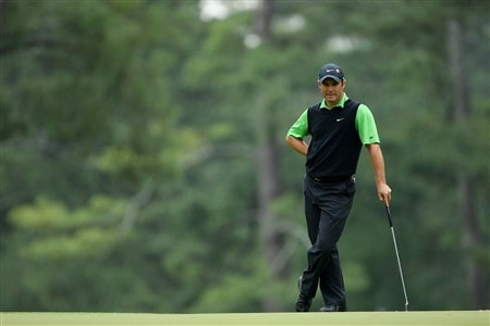 AUGUSTA, GA - APRIL 12:  Trevor Immelman of South Africa waits on the third green during the third round of the 2008 Masters Tournament at Augusta National Golf Club on April 12, 2008 in Augusta, Georgia.  (Photo by Andrew Redington/Getty Images)