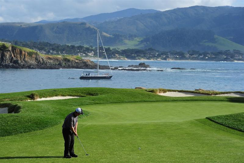 PEBBLE BEACH, CA - FEBRUARY 12:  David Duval putting on the 17th hole during round two of the AT&T Pebble Beach National Pro-Am at Pebble Beach Golf Links on February 12, 2010 in Pebble Beach, California.  (Photo by Stuart Franklin/Getty Images)