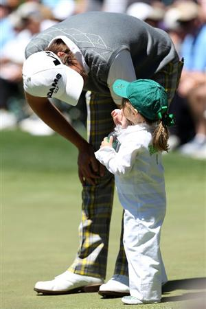 AUGUSTA, GA - APRIL 06:  Aaron Baddeley of Australia chats with his daughter Jewell during the Par 3 Contest prior to the 2011 Masters Tournament at Augusta National Golf Club on April 6, 2011 in Augusta, Georgia.  (Photo by Andrew Redington/Getty Images)
