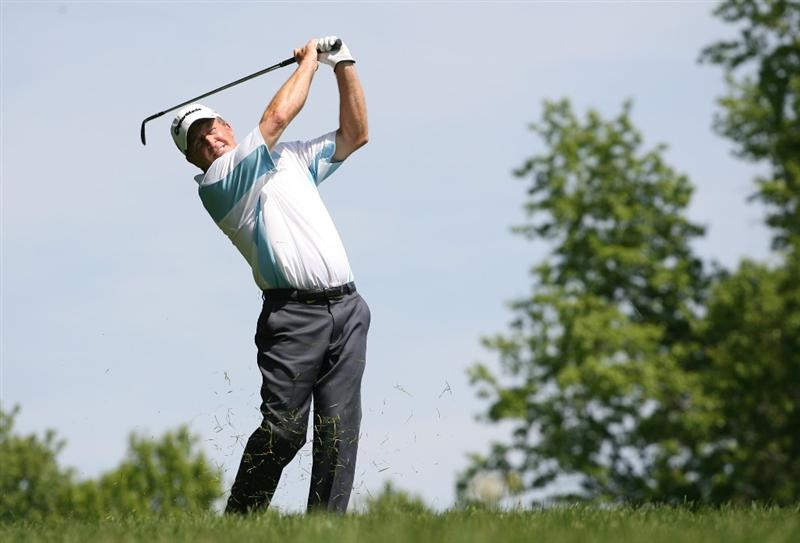 BEACHWOOD, OH - MAY 23:  Fred Funk hits his third shot on the 16th hole during the third round of the 70th Senior PGA Championship at Canterbury Golf Club on May 23, 2009 in Beachwood, Ohio. (Photo by Hunter Martin/Getty Images)