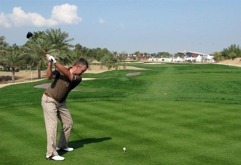 ABU DHABI, UNITED ARAB EMIRATES - JANUARY 17:  Mark Foster of England tees off on the eighth hole during the third round of The Abu Dhabi Golf Championship at Abu Dhabi Golf Club on January 17, 2009 in Abu Dhabi, United Arab Emirates.  (Photo by Andrew Redington/Getty Images)