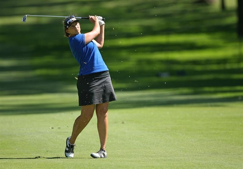 GUADALAJARA, MX - NOVEMBER 16: Angela Stanford of the United States hits her second shot on the 4th hole during the final round of the Lorena Ochoa Invitational at Guadalajara Country Club on November 16, 2008 in Guadalajara, Mexico. (Photo by Hunter Martin/Getty Images)