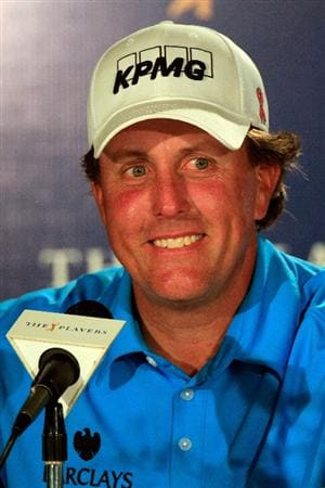 PONTE VEDRA BEACH, FL - MAY 10:  Phil Mickelson is interviewed by the media during  a press conference held after a practice round prior to the start of THE PLAYERS Championship held at THE PLAYERS Stadium course at TPC Sawgrass on May 10, 2011 in Ponte Vedra Beach, Florida.  (Photo by Sam Greenwood/Getty Images)