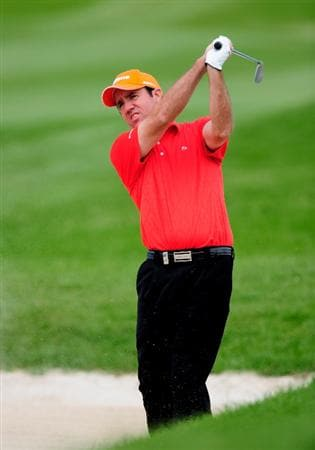 MALLORCA, SPAIN - MAY 15:  Scott Hend of Australia plays his bunker shot on the ninth hole during the third round of the Open Cala Millor Mallorca at Pula golf club on May 15, 2010 in Mallorca, Spain.  (Photo by Stuart Franklin/Getty Images)