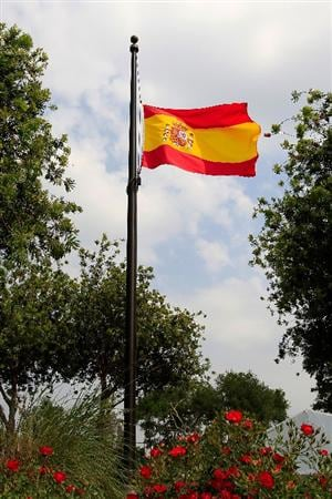 PONTE VEDRA BEACH, FL - MAY 11:  The flag of Spain flies at half-mast to commemorate the passing of golfer Seve Ballesteros as seen during a practice round prior to the start of THE PLAYERS Championship held at THE PLAYERS Stadium course at TPC Sawgrass on May 11, 2011 in Ponte Vedra Beach, Florida.  (Photo by Sam Greenwood/Getty Images)