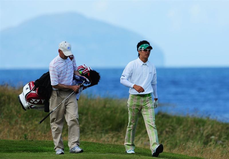 TURNBERRY, SCOTLAND - JULY 13:  Ryo Ishikawa of Japan in action during the practice round of the 138th Open Championship on July 13, 2009 on the Ailsa Course, Turnberry Golf Club, Turnberry, Scotland.  (Photo by Stuart Franklin/Getty Images)