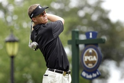 John Senden tees off the first hole during practice for the PGA Championship held at Medinah Country Club in Medinah, Illinois, on August 14, 2006.Photo by Hunter Martin/WireImage.com