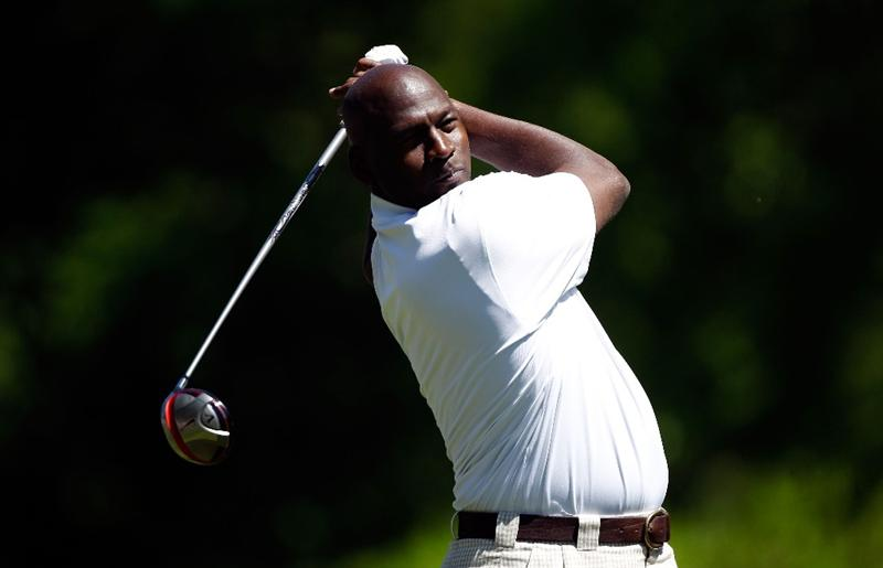 CHARLOTTE, NC - APRIL 28:  Basketball legend Michael Jordan hits a shot during the pro am prior to the start of the 2010 Quail Hollow Championship at the Quail Hollow Club on April 28, 2010 in Charlotte, North Carolina.  (Photo by Scott Halleran/Getty Images)
