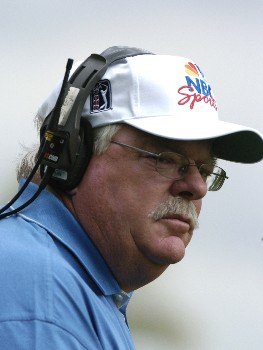 TV commentator Roger Maltbie watches play   during second-round competition March 4, 2005  at the  2005 Ford Championship at Doral in Miami.