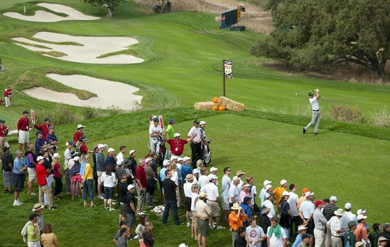 SAN MARTIN, CA - OCTOBER 16:  Henrik Stenson of Sweden makes a tee shot on the seventh hole as Rickie Fowler and Bo Van Pelt look on during the third round of the Frys.com Open at the CordeValle Golf Club on October 16, 2010 in San Martin, California.  (Photo by Robert Laberge/Getty Images)