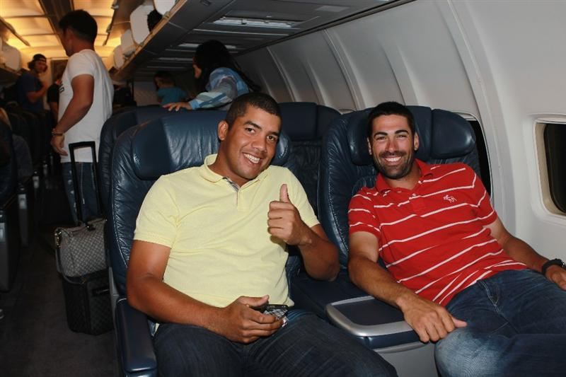 JACKSONVILLE, FL - MAY 15:  Golfers Jhonattan Vegas of Venezuela and Alvaro Quiros of Spain are seen onboard a plane departing from the Jacksonville Airport for Spain and the Volvo World Match Play Championship on May 15, 2011 in Jacksonville, Florida.  (Photo by Scott Halleran/Getty Images for IMG)