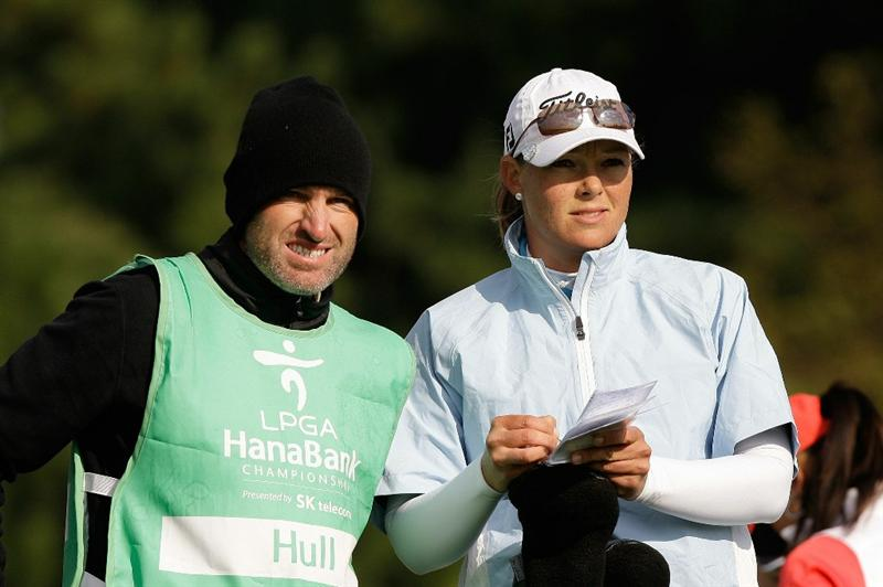 INCHEON, SOUTH KOREA - OCTOBER 31:  Katherine Hull of Australia looks on with her caddy on the 3rd hole during the 2010 LPGA Hana Bank Championship at Sky 72 Golf Club on October 31, 2010 in Incheon, South Korea.  (Photo by Chung Sung-Jun/Getty Images)