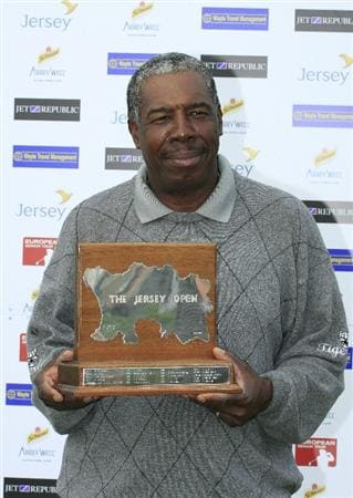 ST HELIER, JERSEY - JUNE 14:  Delroy Cambridge of Jamaica poses with the trophy after the final round of the Jersey Seniors Classic played at La Moye Golf Club on June 14, 2009 in St.Helier, Jersey, United Kingdom  (Photo by Phil Inglis/Getty Images)