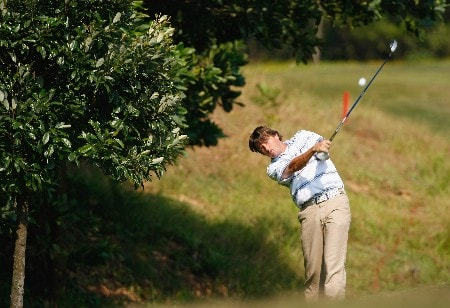 SHENZHEN, CHINA - NOVEMBER 24:  Robert - Jan Derksen of The Netherlands plays his approach shot on the 11th hole during the third round of the Omega Mission Hills World Cup at the Mission Hills Golf Resort on November 24, 2007 in Shenzhen, China.  (Photo by Stuart Franklin/Getty Images)