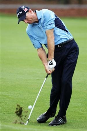 PONTE VEDRA BEACH, FL - MAY 05:  Jim Furyk hits a shot during a practice round prior to the start of THE PLAYERS Championship held at THE PLAYERS Stadium course at TPC Sawgrass on May 5, 2010 in Ponte Vedra Beach, Florida.  (Photo by Scott Halleran/Getty Images)