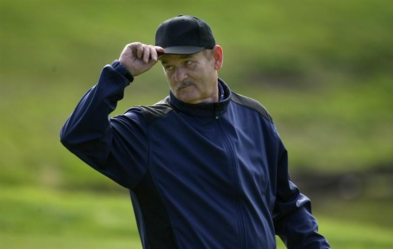 PEBBLE BEACH, CA - FEBRUARY 13:  Comedian Bill Murray tips his cap to the crowd on the 10th hole during the second round of the AT&T Pebble Beach National Pro-Am at Poppy Hills Golf Course on February 13, 2009 in Pebble Beach, California.  (Photo by Stephen Dunn/Getty Images)