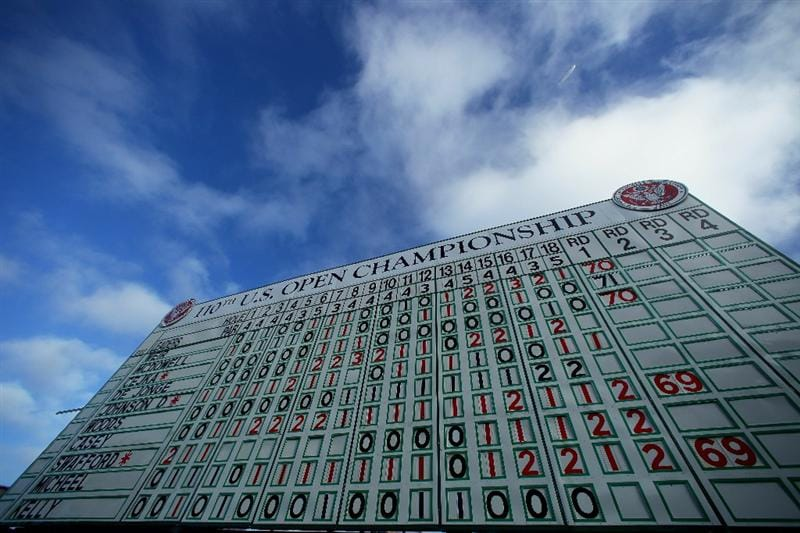 PEBBLE BEACH, CA - JUNE 17:  A leaderboard is seen during the first round of the 110th U.S. Open at Pebble Beach Golf Links on June 17, 2010 in Pebble Beach, California.  (Photo by Donald Miralle/Getty Images)