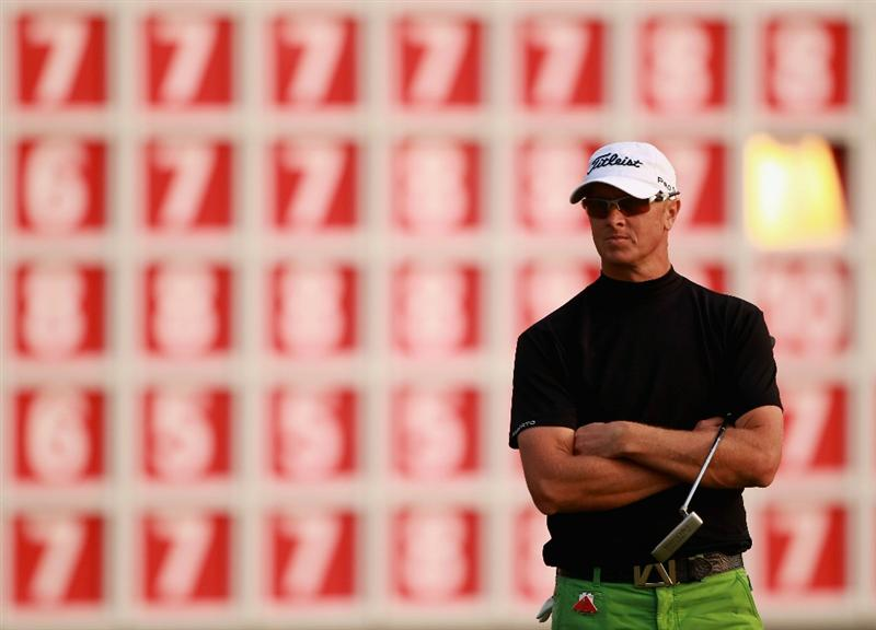 SHANGHAI, CHINA - NOVEMBER 06:  Fredrik Andersson Hed of Sweden waits to play on the 18th hole during the third round of the WGC-HSBC Champions at Sheshan International Golf Club on November 6, 2010 in Shanghai, China.  (Photo by Andrew Redington/Getty Images)