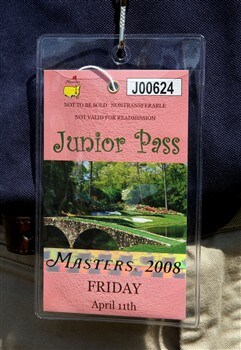 AUGUSTA, GA - APRIL 11:  A junior patron badge is seen during the second round of the 2008 Masters Tournament at Augusta National Golf Club on April 11, 2008 in Augusta, Georgia.  (Photo by David Cannon/Getty Images)