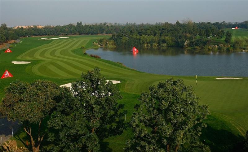SHANGHAI, CHINA - NOVEMBER 03:  A general-view of the second hole during a practice round prior to the start of the WGC-HSBC Champions at Sheshan International Golf Club on November 3, 2009 in Shanghai, China.  (Photo by Scott Halleran/Getty Images)