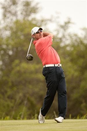 SAN ANTONIO, TX - APRIL 17: Rich Beem follows through on a tee shot during the final round of the Valero Texas Open at the AT&T Oaks Course at TPC San Antonio on April 17, 2011 in San Antonio, Texas. (Photo by Darren Carroll/Getty Images)