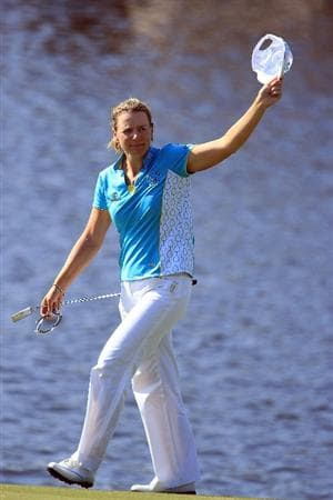 WEST PALM BEACH, FL - NOVEMBER 21:  Annika Sorenstam of Sweden waves to the gallery on the 18th green as she completes her last official LPGA event during the second round of the ADT Championship at the Trump International Golf Club on November 21, 2008 in West Palm Beach, Florida.  (Photo by Scott Halleran/Getty Images)