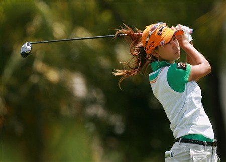 AVENTURA, FL - APRIL 27:  Momoko Ueda follows her drive on the fourth hole during the final round of the Stanford International Pro-Am at Fairmont Turnberry Isle Resort & Club on April 27, 2008 in Aventura, Florida.  (Photo by Doug Benc/Getty Images)