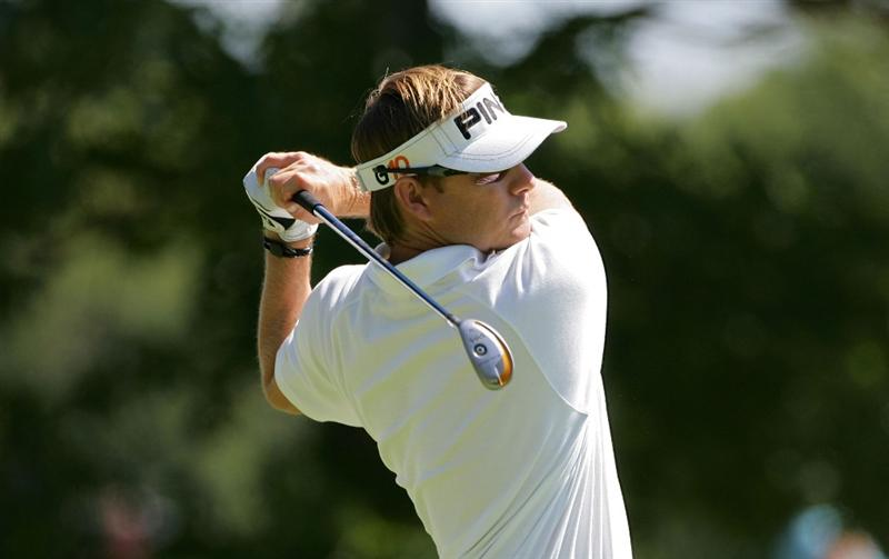 NORTON, MA - SEPTEMBER 01:  Heath Slocum watches his drive on the first hole during the final  round of the Deutsche Bank Championship at TPC of Boston held on September 1, 2008 in Norton, Massachusetts.  (Photo by Michael Cohen/Getty Images)