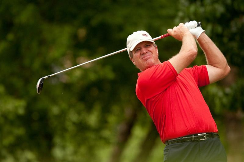 IRVING, TX - MAY 23: Steve Elkington of Australia follows through on a tee shot during the fourth round of the HP Byron Nelson Championship at TPC Four Seasons Resort Las Colinas on May 23, 2010 in Irving, Texas. (Photo by Darren Carroll/Getty Images)