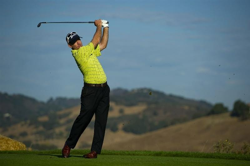 SAN MARTIN, CA - OCTOBER 14:  Rod Pampling of Australia makes a tee shot on the seventh hole during the first round of the Frys.com Open at the CordeValle Golf Club on October 14, 2010 in San Martin, California.  (Photo by Robert Laberge/Getty Images)