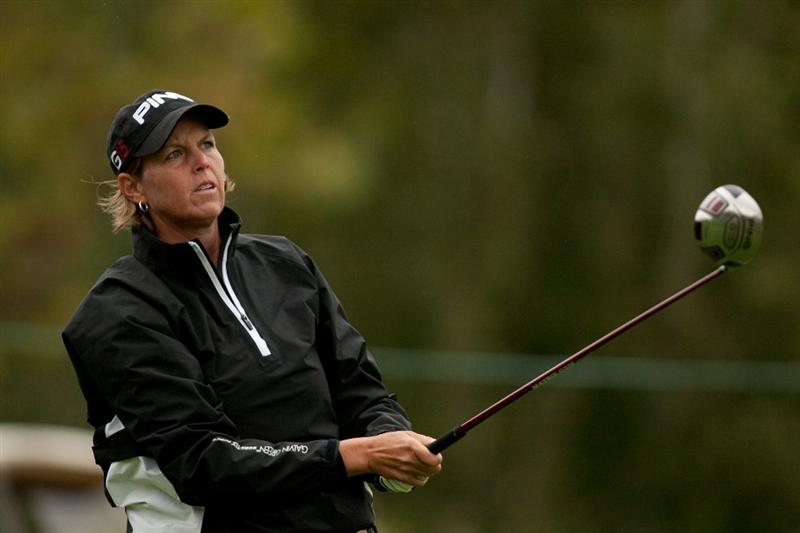 DANVILLE, CA - OCTOBER 17: Wendy Ward watches a tee shot during the final round of the CVS/Pharmacy LPGA Challenge at Blackhawk Country Club on October 17, 2010 in Danville, California. (Photo by Darren Carroll/Getty Images)
