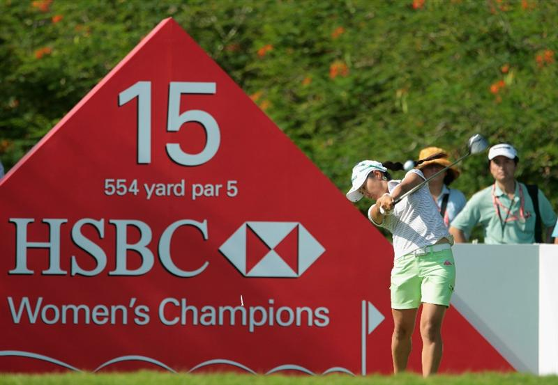 SINGAPORE - FEBRUARY 25:  Ai Miyazato of Japan hits her tee shot on the 15th hole during the second round of the HSBC Women's Champions 2011 at the Tanah Merah Country Club on February 25, 2011 in Singapore, Singapore.  (Photo by Scott Halleran/Getty Images)
