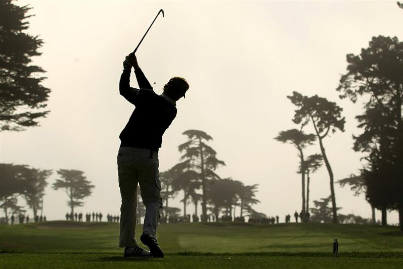 SAN FRANCISCO - NOVEMBER 06:  Bernhard Langer of Germany tees off on the 3rd hole during round 3 of the Charles Schwab Cup Championship at Harding Park Golf Course on November 6, 2010 in San Francisco, California.  (Photo by Ezra Shaw/Getty Images)