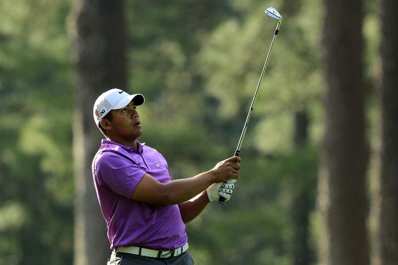 AUGUSTA, GA - APRIL 07:  Jhonattan Vegas of Venezuela watches his approach shot on the 14th hole during the first round of the 2011 Masters Tournament at Augusta National Golf Club on April 7, 2011 in Augusta, Georgia.  (Photo by David Cannon/Getty Images)